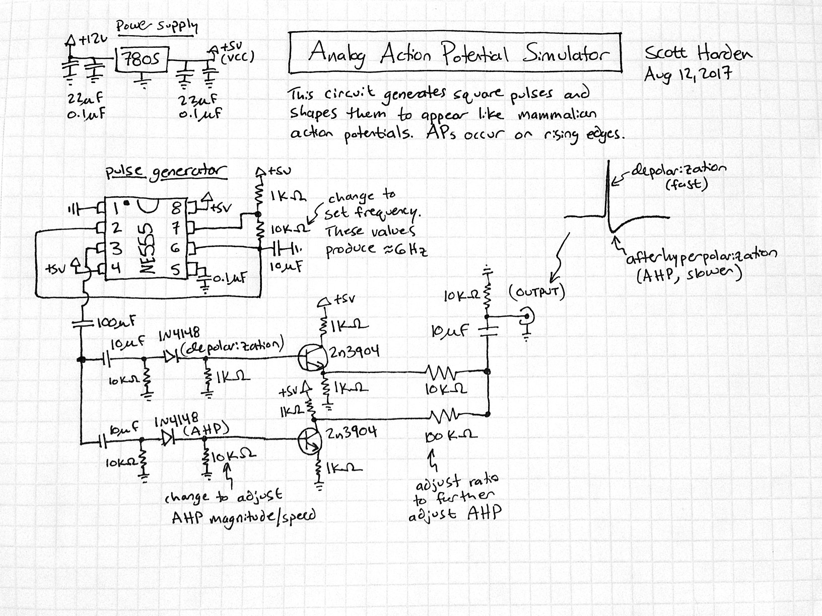 General Astable 555 Timer Ic Flasher Circuit Diagram The Analog Action Potential Simulator I Came Up With Creates A Continuous Series Potentials This Is Achieved Using Specifically